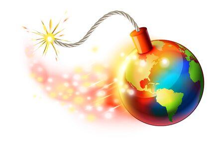 Global warming concept, planet is on fire Illusztráció