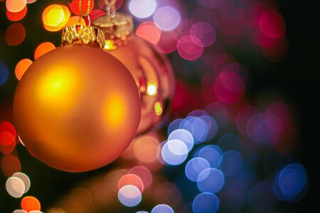Christmas decoration against blurred background, space for text