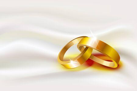 Vector illustration of two wedding rings on silk background Illusztráció