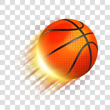 Basketball ball flying. Eps 10 editable, gradients with transparency. Easy to pu over any background.