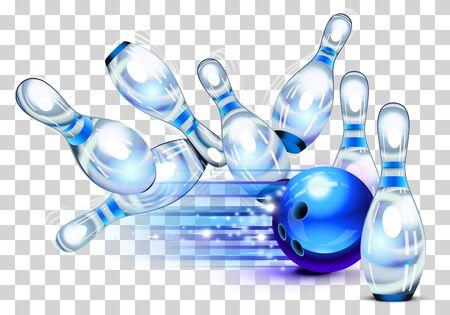 Bowling game, blue bowling ball crashing into the pins
