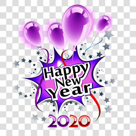 Happy New Year 2020 purple greeting card, transparent eps10 Illusztráció