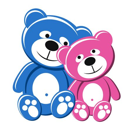 Teddy bear couple, pink and blue, in love