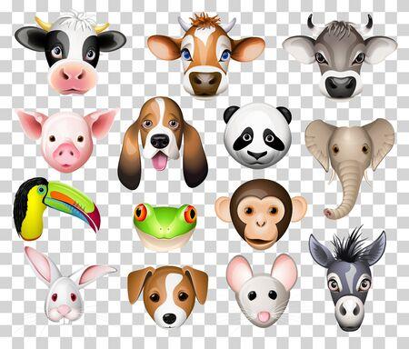 Illustration set of cartoon animals with cow, pig, basset dog, panda, elephant, toucan, frog, donkey, rabbit, mouse and donkey