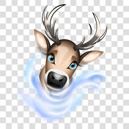 Cute reindeer cartoon illustration with transparency