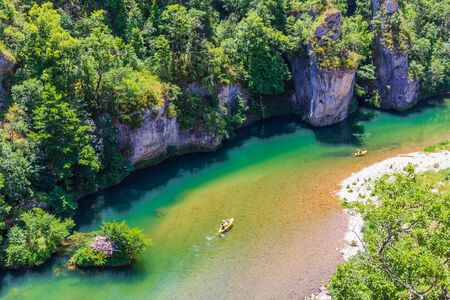 The valley of the Tarn river and the canyon, Occitanie, France Stock Photo
