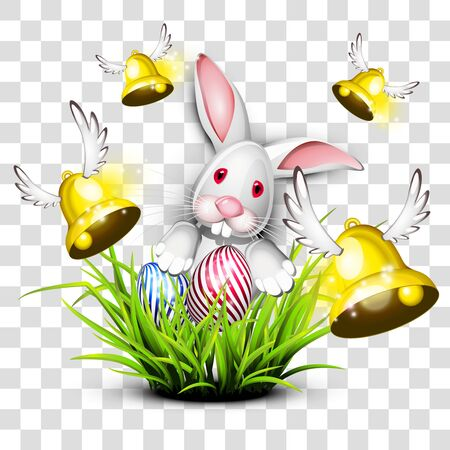 Happy easter egg with bunny and bells on transparent background isolated vector