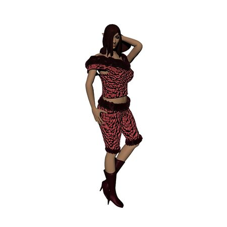 3D illustration of sexy redhead girl in red shirt and breeches in seductive pose isolated on white background Stock Photo