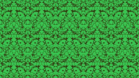 kelly: Abstract background with ornament from repeated patterns with scribbles in kelly green and black tones Stock Photo