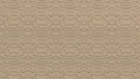 Abstract background with ornament from repeated patterns with scribbles in beige tones