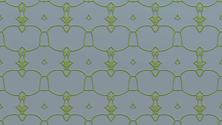 Abstract background with ornament from repeated patterns with effect of stamping in green tones
