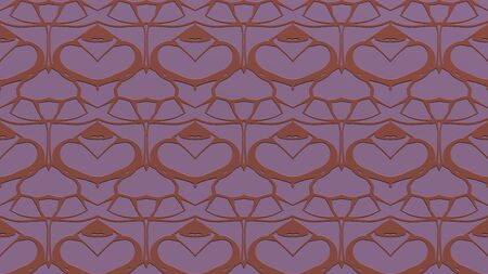 Abstract background with ornament from repeated patterns with effect of stamping in pink tones