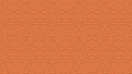 오렌지 톤에서 각인의 효과와 반복 된 패턴에서 장식으로 원활한 추상적 인 배경 스톡 콘텐츠