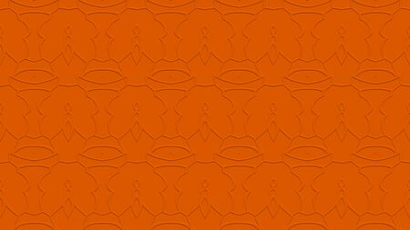 stamping: Seamless abstract background with ornament from repeated patterns with effect of stamping in orange tones