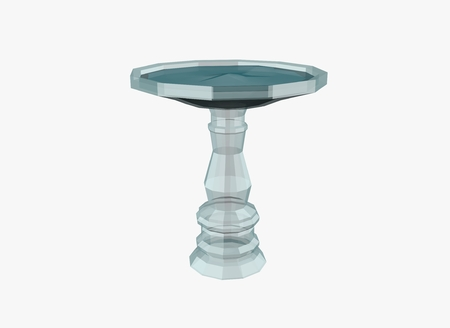 Illustration of glassed birdbath in low poly style  isolated on white background Stock Photo