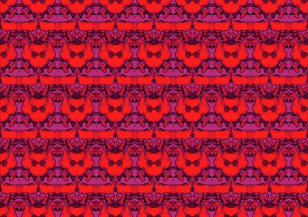 Seamless abstract backdrop with ornament from repeated patterns in red and pink tones, colorful background for  poster, interior design,  greeting card, advertising, website, kids Stock Photo
