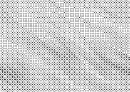 Abstract halftone backdrop in white and black tones in newsprint printing style with dots and rhombuses, monochrome background for business card, poster, advertising