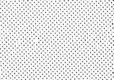 printed material: Abstract halftone backdrop in white and black tones in newsprint printing style with rhombuses, squares and lines, monochrome background for business card, poster, advertising Stock Photo