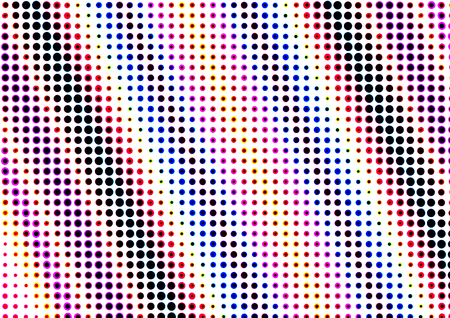 printed material: Abstract dotted colored backdrop in newsprint printing style with circles, bright background for greeting cards, posters, advertising Stock Photo