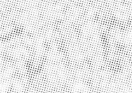 Abstract dotted halftone backdrop in white and black tones in newsprint printing style with dots and circles, monochrome background for business card, poster, advertising