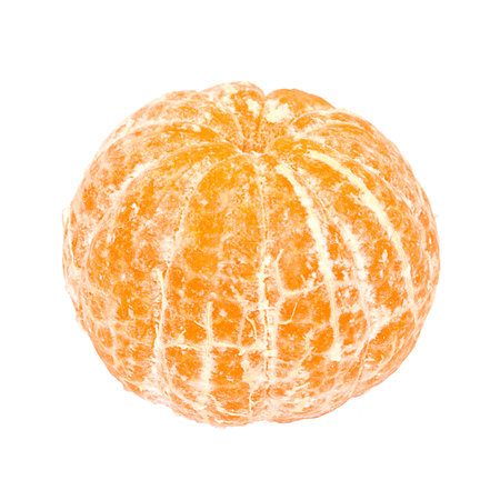 One ripe bright orange peeled mandarin isolated on white background