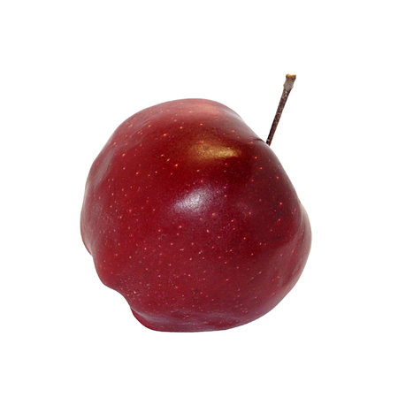 One whole ripe with dots apple grade Red Chief isolated on white background Stock fotó