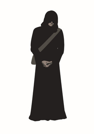 A Vector illustration of man wanderer in the brown poor monk robe with arms crossed, face hidden under a hood and a shoulder bag isolated on white background Illustration