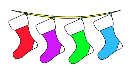 A Vector illustration of four empty Christmas socks: red, purple, green and blue hung with eyelets on yellow rope isolated on white background