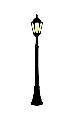 Vector illustration of flat cartoon black streetlight with yellow lamp isolated on white background