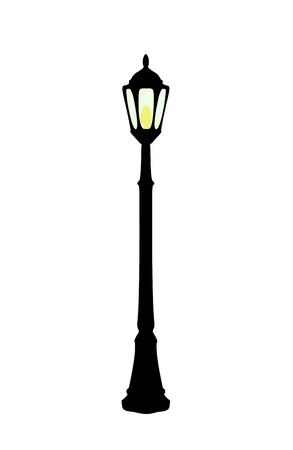 Ilustración de vector de farola negra de dibujos animados plana con lámpara amarilla aislada sobre fondo blanco