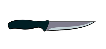Flat cartoon kitchen knife with dark grey handle isolated on white background 일러스트