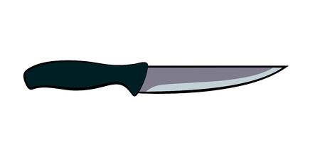 Flat cartoon kitchen knife with dark grey handle isolated on white background Illustration
