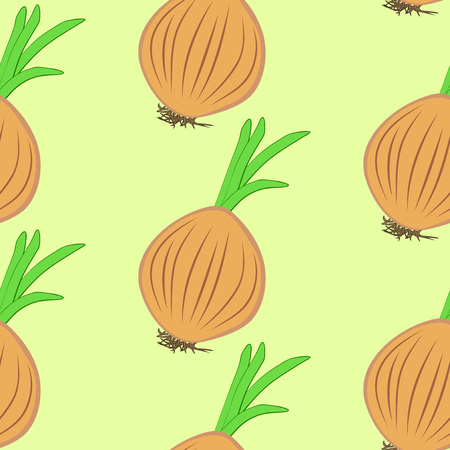Vector illustration, bright seamless pattern, beautiful cartoon brown onion bulbs in sketch style with green sprouts on yellow background