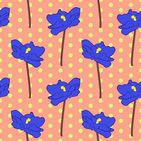 Vector illustration, soft seamless floral pattern in vintage style, beautiful cartoon blue violet flowers on orange dotted background Illustration