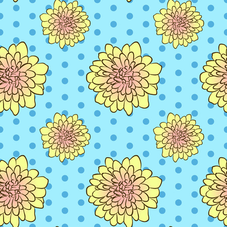 Vector illustration, soft seamless floral pattern in vintage style, beautiful cartoon yellow aster flowers on blue dotted background Ilustrace