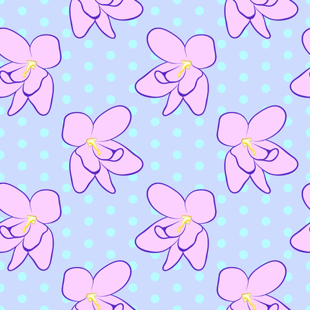 Vector illustration, soft seamless floral pattern in vintage style, beautiful cartoon pink violet flowers on purple dotted background