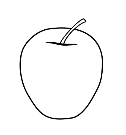 Vector illustration, isolated asymmetric cartoon apple in black and white colors Illustration