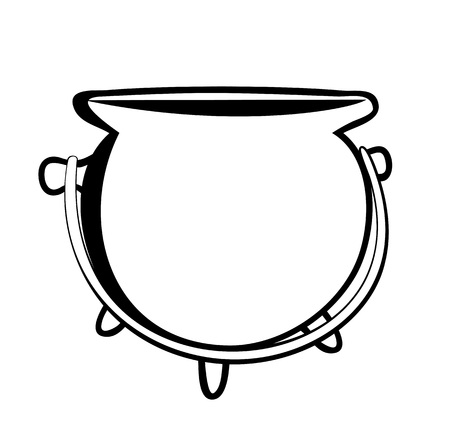 Vector illustration, isolated pot in black and white colors