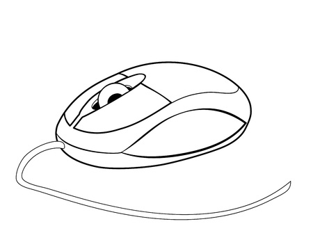 Vector illustration, isolated small computer mouse in black and white colors Ilustração
