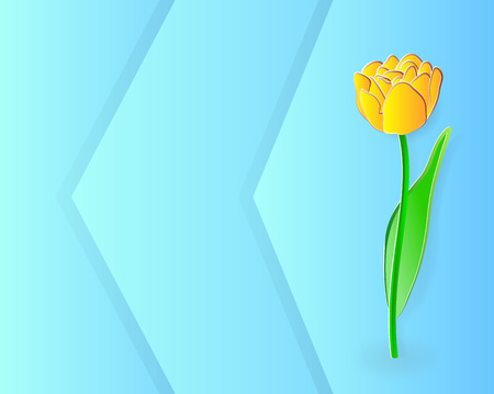 Vector illustration, yellow tulip flower in paper cut style on abstract blue background with space