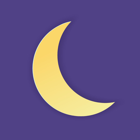 Vector illustration, yellow simple crescent in papercut style with transparent shadows isolated on purple background
