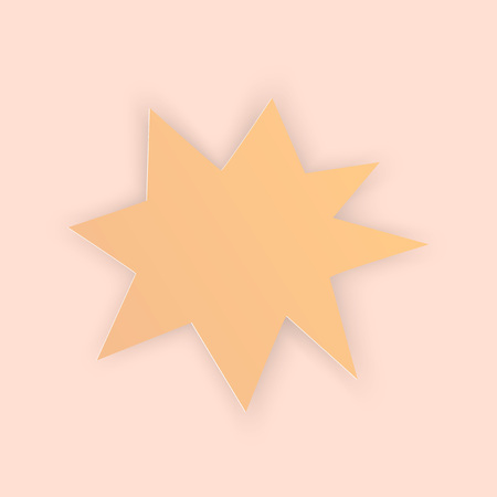 Vector illustration, yellow irregular star shaped sticker in papercut style with transparent shadows isolated on beige background