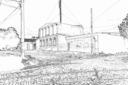 City landscape of small town with old houses, trees, sky, grass and tram rails in the style of a pencil drawing. Monochrome three-color vector in grayscale