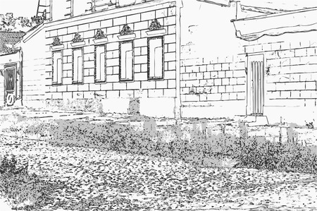 City landscape of small town with old house, stone road and grass in the style of a pencil drawing. Monochrome three-color vector in grayscale Ilustração