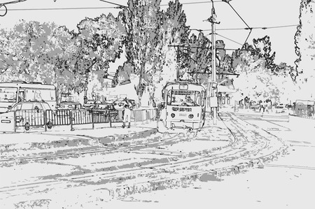 City landscape of small town with houses, trees, sky, and tram in style of pencil drawing. Monochrome three-color vector in grayscale