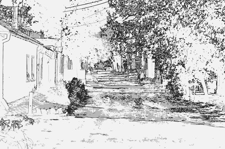 City landscape of small town with old houses, trees, sky, grass and cars in style of pencil drawing. Monochrome three-color vector in grayscale Ilustração