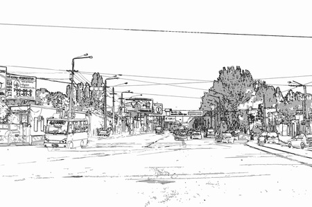 City landscape of small town with  cars, trees, sky, and big road in style of pencil drawing. Monochrome three-color vector in grayscale