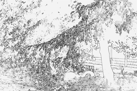 City landscape of small town with tree in style of pencil drawing. Monochrome three-color vector in grayscale Ilustração