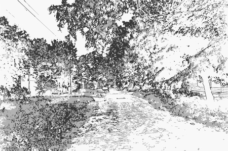 City landscape of small town with old houses, trees, sky, grass in style of pencil drawing. Monochrome three-color vector in grayscale