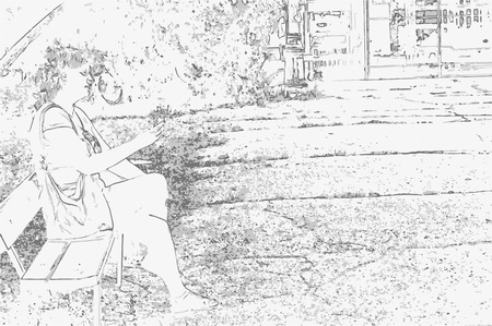 Park landscape with trees, sky, paths and human sitting on bench in style of pencil drawing. Monochrome three-color vector in grayscale
